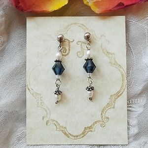 🌹Swarovski Crystal Pearl SS Bali Bead Earrings